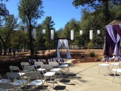 Backyard Purple  White Ceremony
