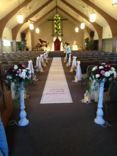 Burgundy  Blush church ceremony