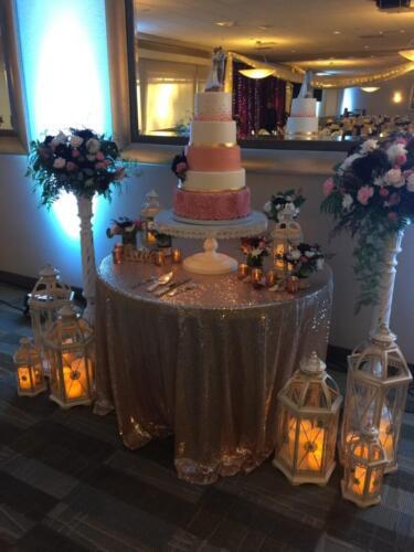 Burgundy and Blush Cake Table